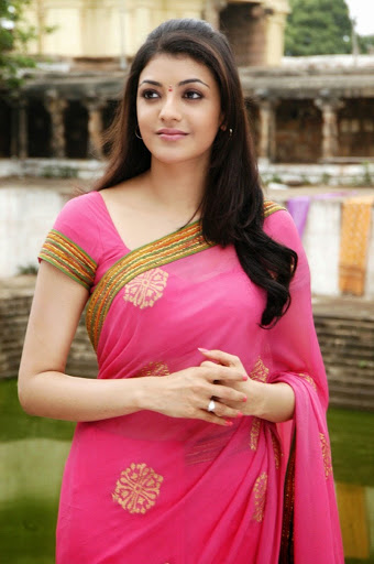 Best HD wallpapers Kajal Aggarwal in pink color saree