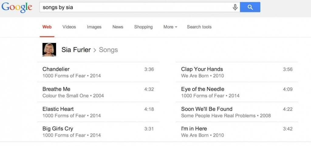 Google find songs by bands