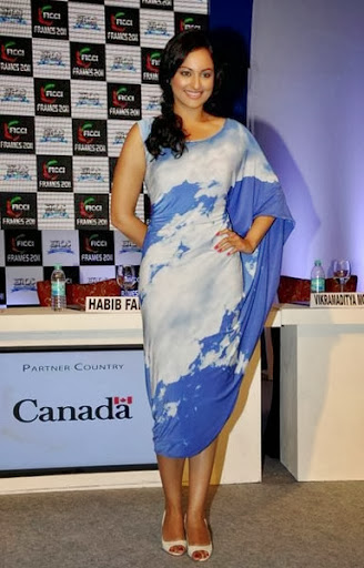 HD Wallpapers Sonakshi Sinha in Blue Color Sleeveless