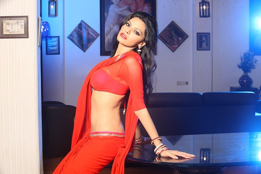 Sherlyn Chopra Looking Beautiful in Red Saree