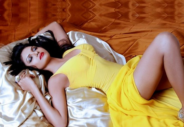 Gorgeous Sherlyn Chopra in Yellow Dress
