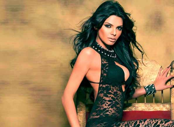 sherlyn chopra in black dress