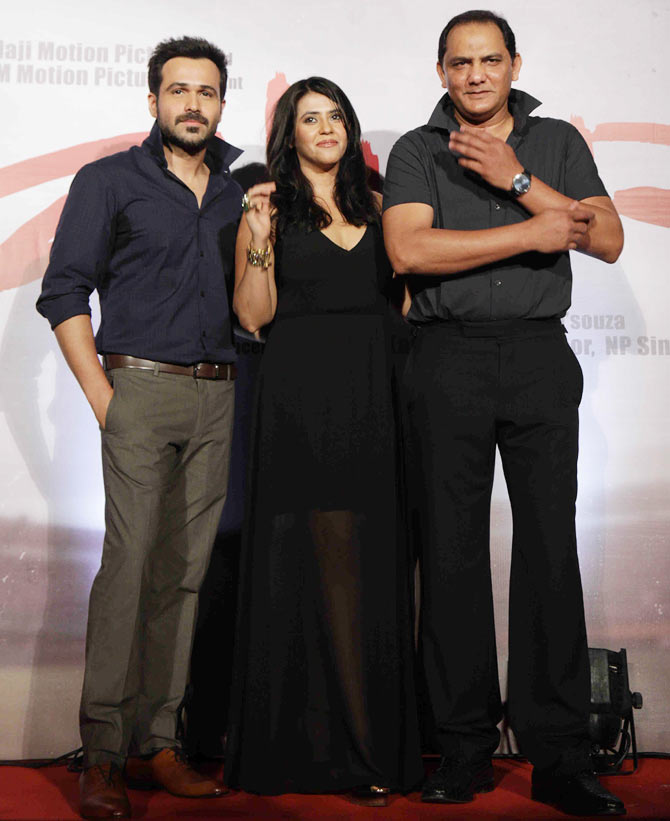 Emraan Hashmi, Ekta Kapoor and Mohammed Azharuddin