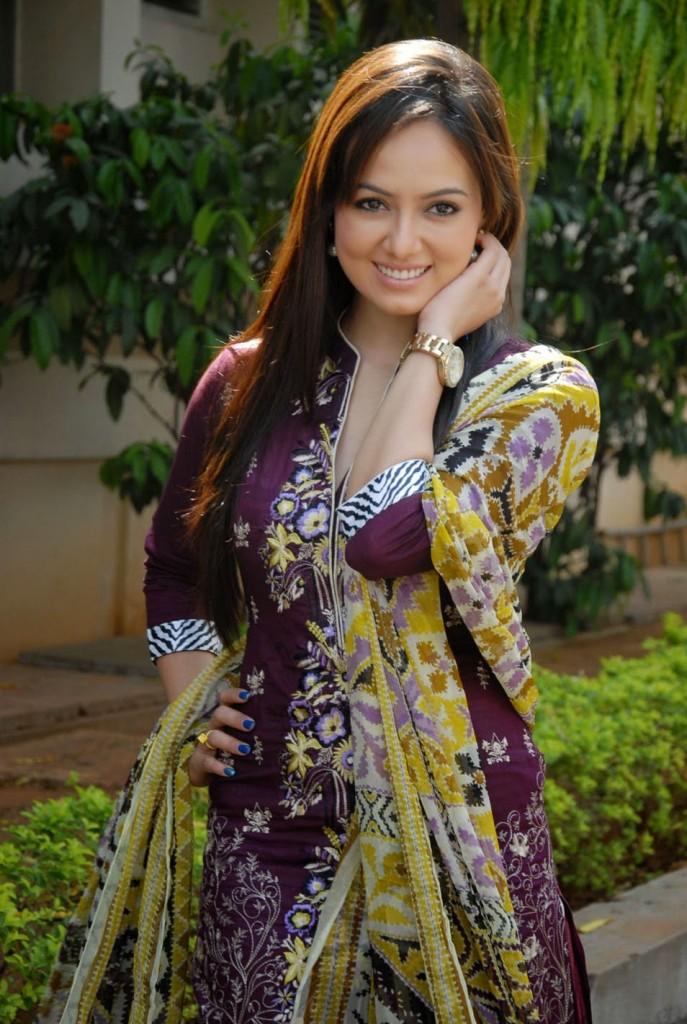 Actress Sana Khan In Violet Salwar Kurti