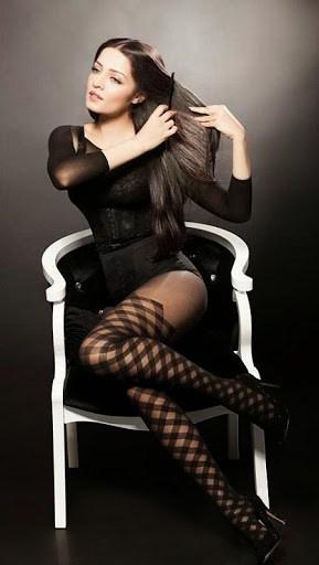 Celina Jaitly in black color dress