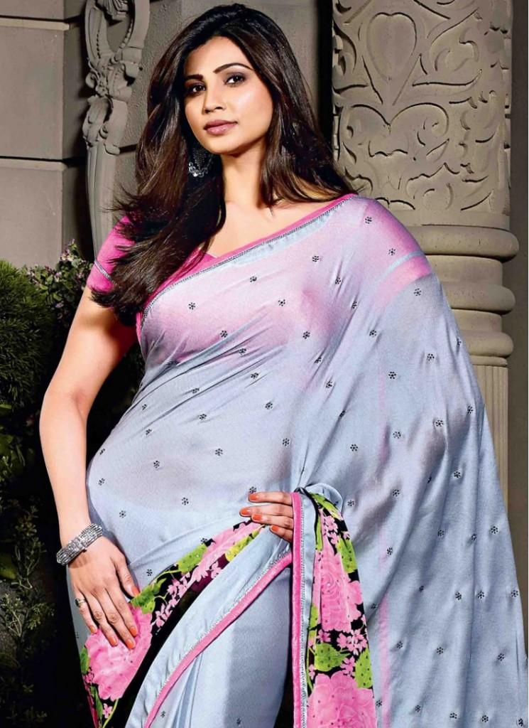 Daisy Shah Grey Festival Saree
