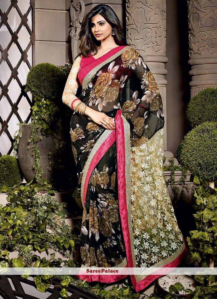 Daisy Shah Style Black Shaded Faux Georgette Saree