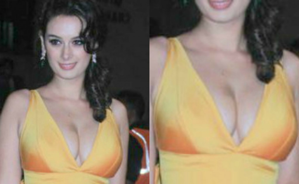 Evelyn Sharma Hot Cleavage Exposed At Filmfare Awards