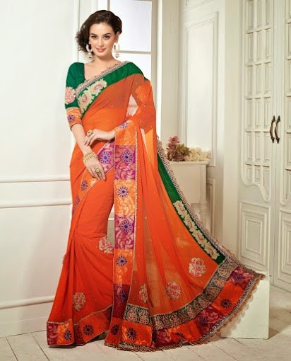 Evelyn Sharma In Orange & Green Saree