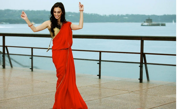 Evelyn Sharma in a red hot saree