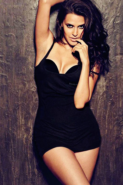 Neha Dhupia in hot black lingerie
