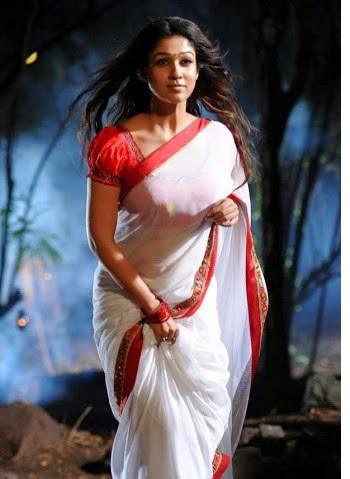 Nayantara photos in white Saree with red border from tamil movies.