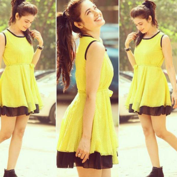 yuvika-chaudhary-cute-yellow-dress