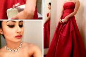 Mouni Roy red skirt