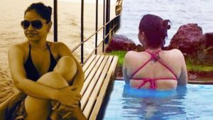 Sumona Chakravarti In Red Bikini