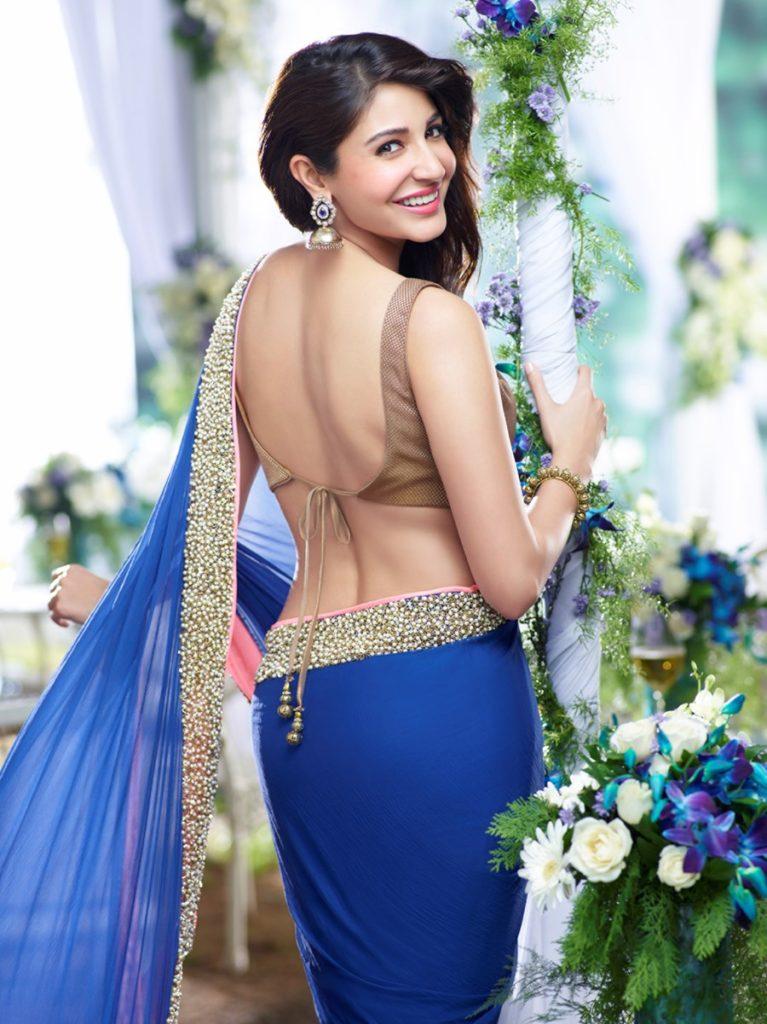 Actress Anushka Sharma in Blue saree