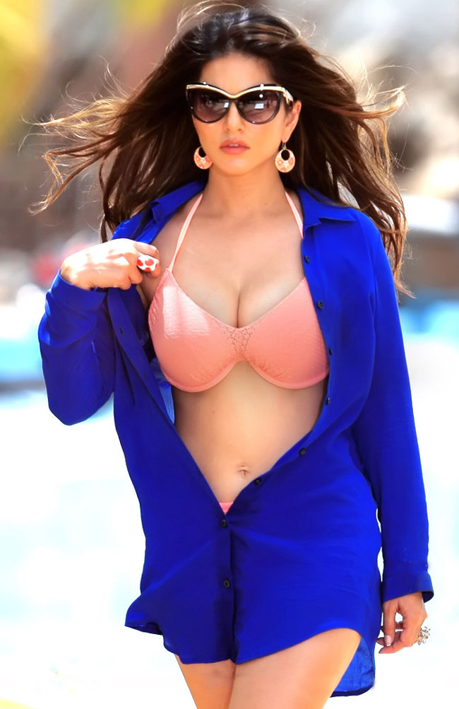Sunny Leone hot, bikini hot photos, bra size, sexy hot images, wallpaper pics, Sunny Leone saree & bikini photoshoot